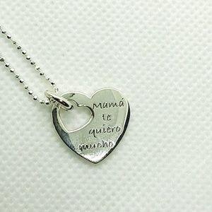 """Silver Heart """"Mama Te Quiero Mucho"""" Pendant"""